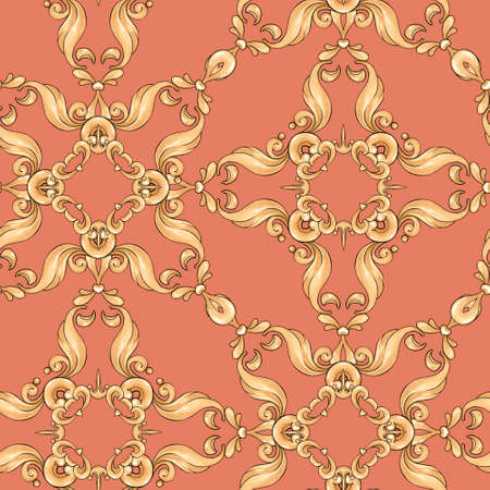 Abstract seamless pattern, vintage gold background, swirl pattern Banque d'images