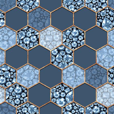 Seamless blue gemstones pattern. Jewels luxury background.