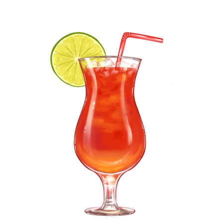 Summer cocktail in glass with lemon slice and drinking straw isolated on white background Banque d'images