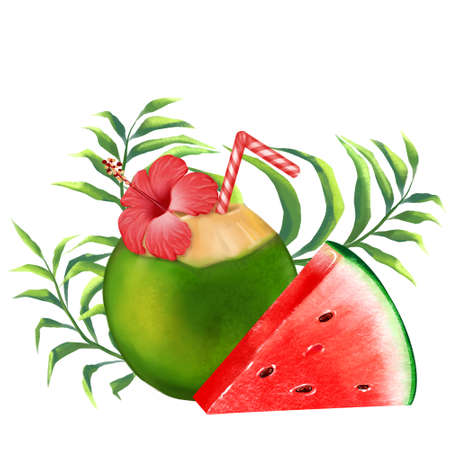 Coconut cocktail, watermelon slice and tropical leaves illustration