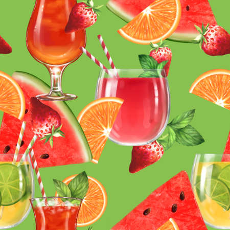 Vibrant summer background. Seamless pattern with cocktails and fruits. Banque d'images