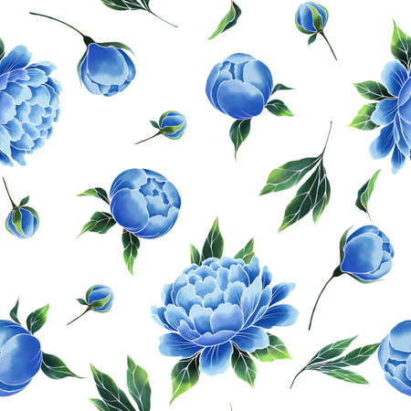 Oriental style vintage blue flowers. Peonies seamless floral pattern on white. Banque d'images
