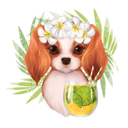 Beautiful illustration of cute summer dog with cocktail