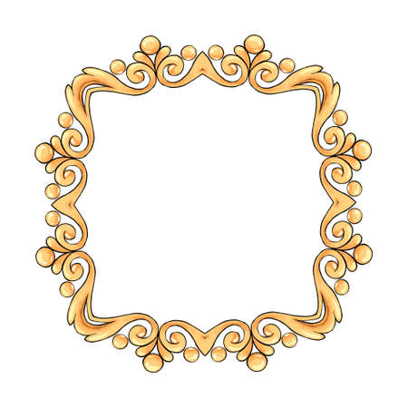 Decorative gold frame with scrolls. Hand drawn elements for design Banque d'images