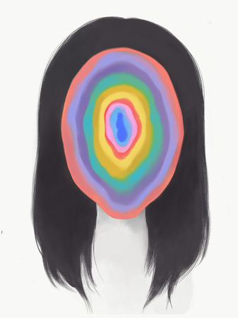 Introspective concept art drawing with rainbow geode swirls inside a female face