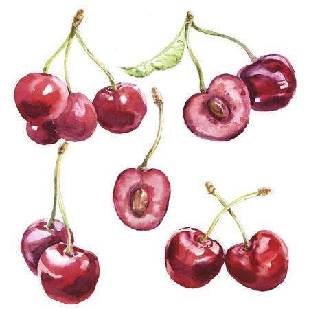 Watercolor cherries set Zdjęcie Seryjne