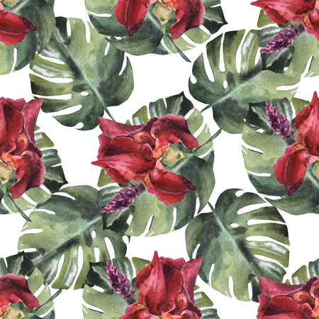 Watercolor seamless flower tropical pattern with iris Archivio Fotografico - 109202701