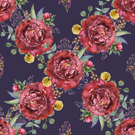 Watercolor seamless flower pattern with peony