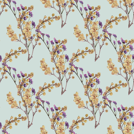 Watercolor seamless flower pattern branch leaves for wedding design inspiration Archivio Fotografico - 109202705