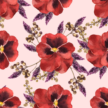 Watercolor seamless flower pattern with red viola Archivio Fotografico - 109202706