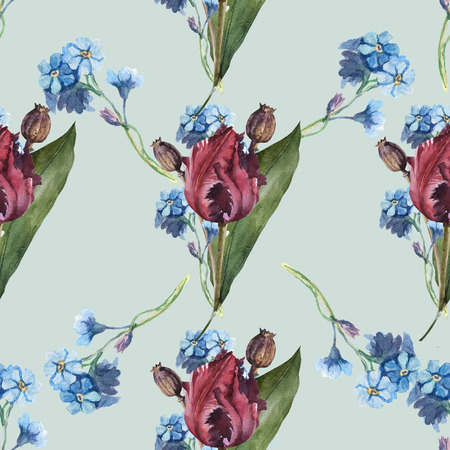 Watercolor seamless flower pattern with tulip