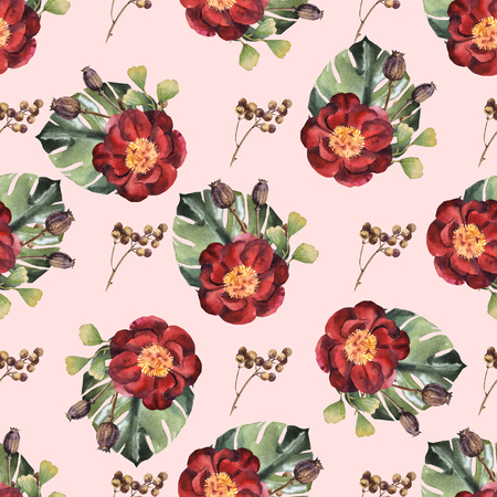Watercolor seamless flower pattern with red peony Archivio Fotografico - 109202708