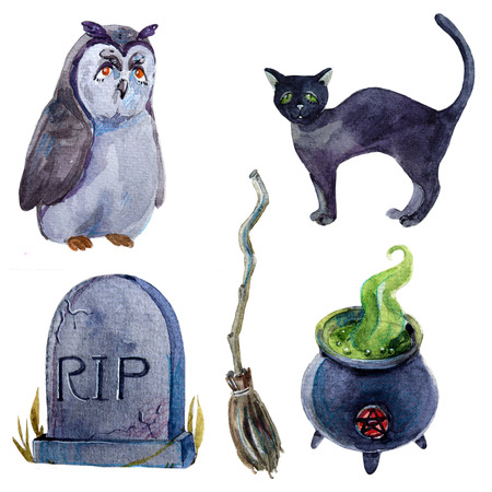 Watercolor cartoon halloween set on white background with creepy elements Zdjęcie Seryjne