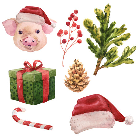 Watercolor pig christmas new year set Chinese symbol Archivio Fotografico - 109202749