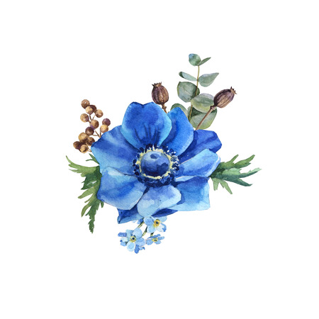 Watercolor blue anemone flower bouquet with leaves wedding