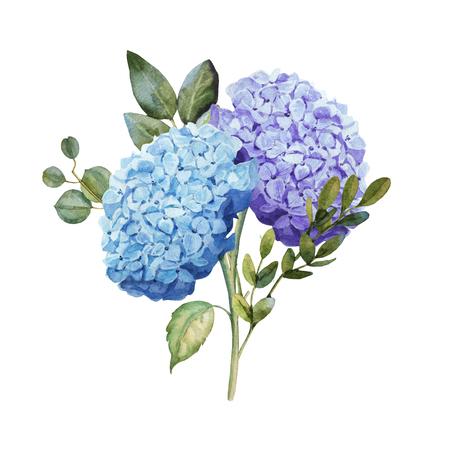 Watercolor blue hydrangea flower bouquet with leaves wedding