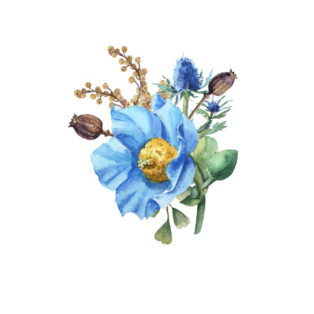 Watercolor blue poppy flower bouquet with leaves wedding