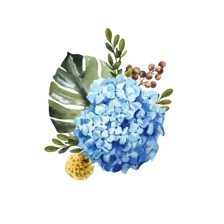 Watercolor blue hydrangea flower bouquet with leaves wedding Archivio Fotografico - 123365651