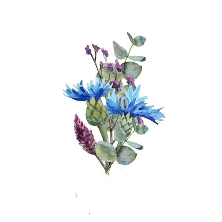 Watercolor blue cornflower flower bouquet with leaves wedding Archivio Fotografico - 123365652