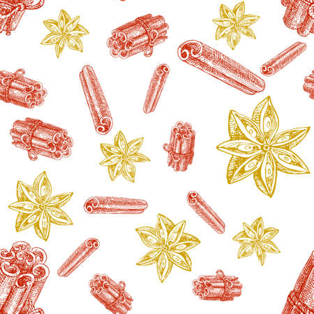 Winter spice seamless pattern, vector drawing. Flavoring seeds and herbs for christmas food and drinks. Mulled wine ingredients sketch 向量圖像