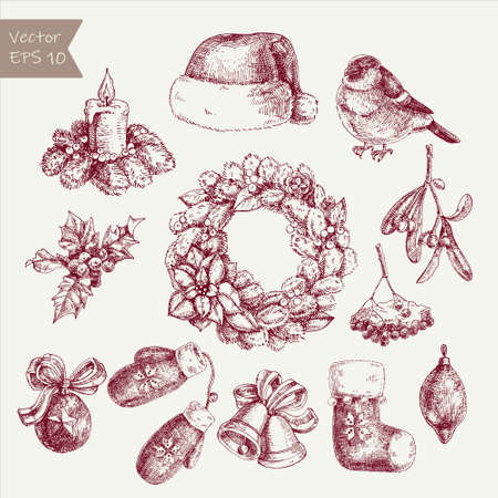 Hand sketched Christmas and New Year illustration isolated on white