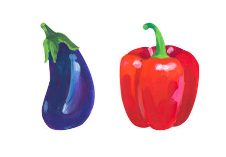 Paprika anf eggplant. Hand drawn acrylic or gouache illustration on white background