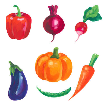 Hand painted acrylic or gouache vegetables elements set on white background 版權商用圖片