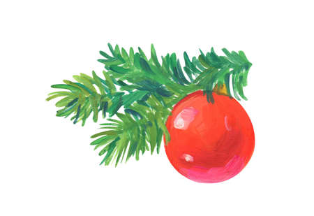 christmas tree toy Hand drawn acrylic or gouache illustration on white background