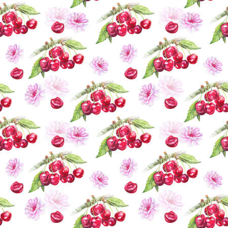 Seamless pattern with cherry. Watercolor hand drawn illustration on white background