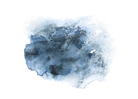Deep gray stain of watercolor paint. Watercolor background with paper texture. 版權商用圖片