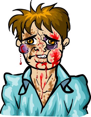 battu: Man Beaten Illustration