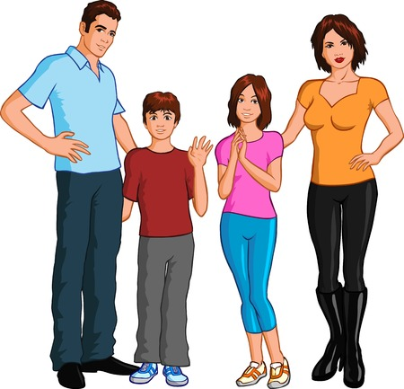 young man standing: Family Illustration