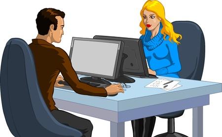corsi di formazione: Coppia di lavoro in un ufficio Vettoriali