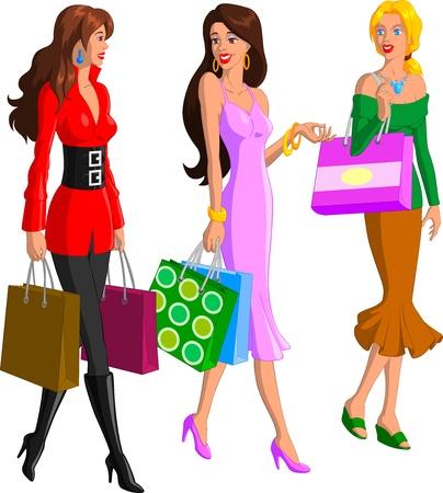 shoppen: Einkaufen Frauen Illustration