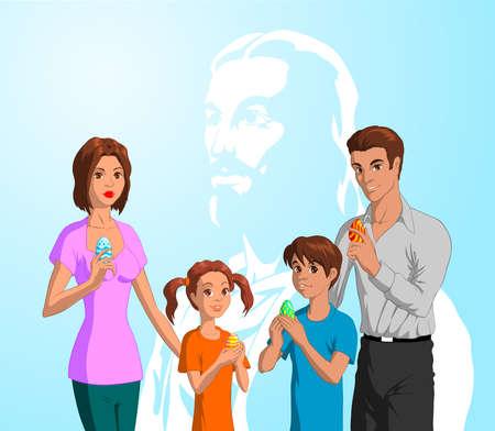 familia cristiana: Familia Celebrar la Pascua Vectores