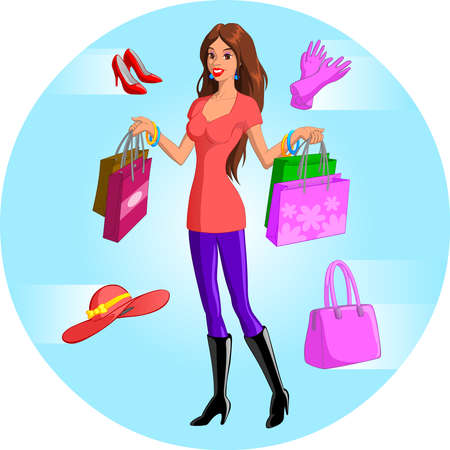 accesories: Shopping Woman Illustration