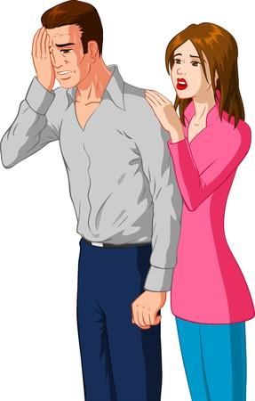 sad man: Mujer Reconfortante Sad Man Vectores