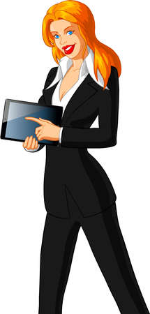 illustration of a beautiful businesswoman holding a tablet pc Stock Vector - 18420594