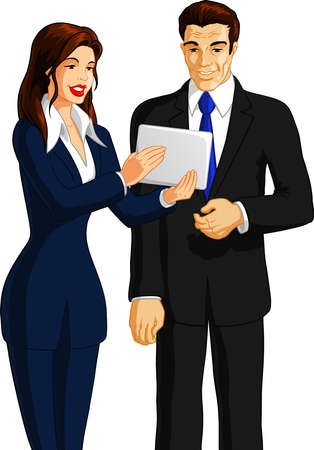 illustration of a businesswoman is showing mobile tablet to a businessman. Vector