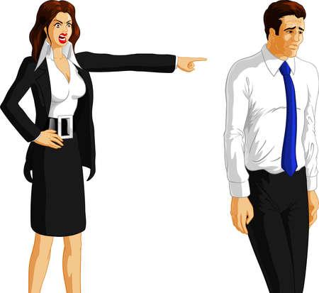mujer estres: Ilustraci�n vectorial de una mujer de negocios enojado despedir a un trabajador.