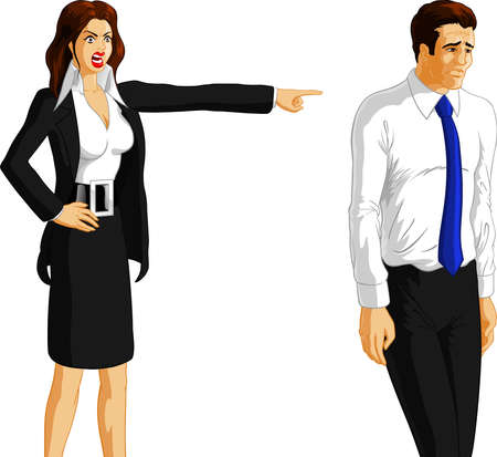 Vector illustration of an angry businesswoman firing a worker. Vector