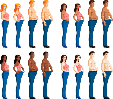 waist weight: Weight loss, before and after comparison of mixed race people  Illustration