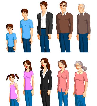 seres humanos: Proceso de envejecimiento de un macho y hembra