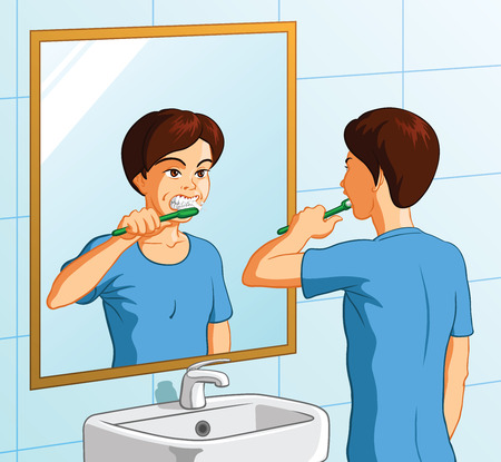 Vector illustration of a boy brushing his teeth. Vector