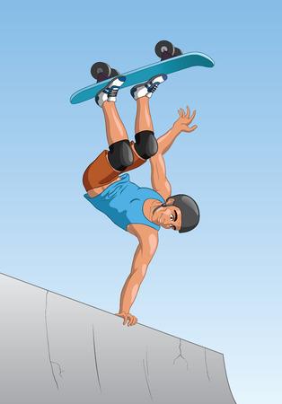 skateboard park: Retrato de un skater activa patinar en una rampa en el parque de patinaje.