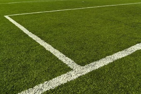 Artificial turf soccer field and line photo