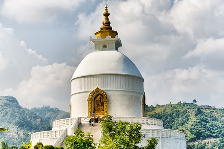 dome of hindu temple: World peace pagoda in Pokhara Nepal Stock Photo