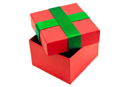 Isolated red green present box photo