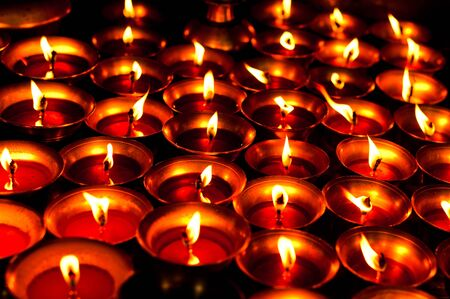 Candles in the dark Shree Boudhanath temple  Nepal photo