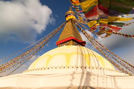 Colorful holy flags on Boudhanath temple Kathmandu Nepal photo